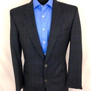 Hugo Boss Sport Coat Plaid Silk Wool Blue 40S